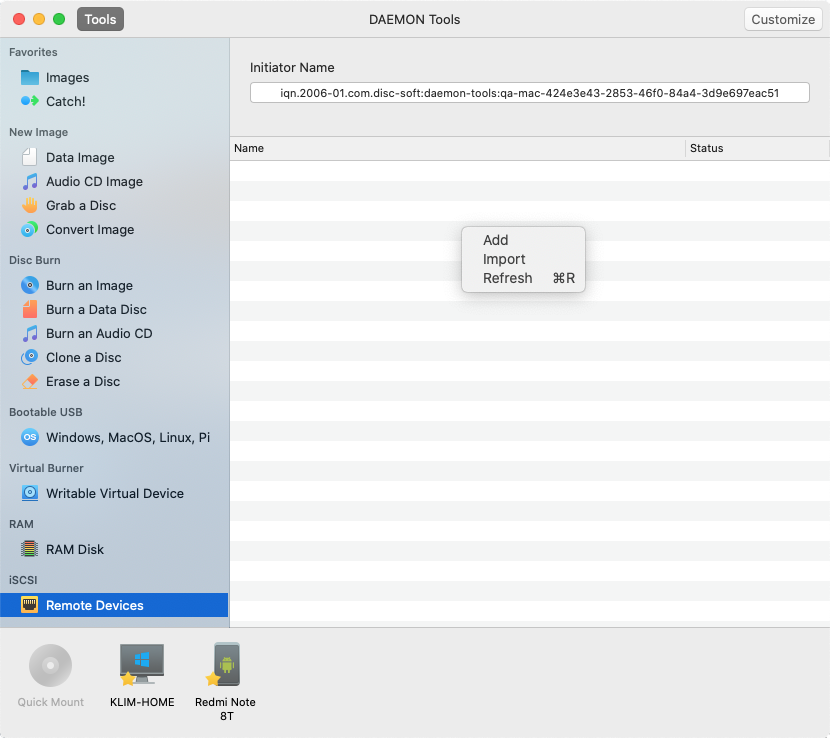 Remote Devices - DAEMON Tools for Mac Help